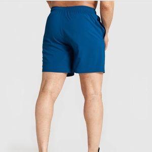 "Gymshark Men's Blue 7"" Gym Shorts- small"